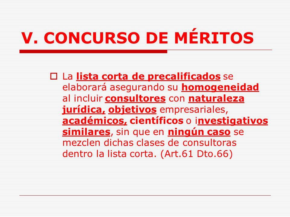 V. CONCURSO DE MÉRITOS Si no se conforma la lista corta la entidad procederá según el parágrafo 1 del Art. 61 Dto. 66. (Si la entidad no recibe ningun