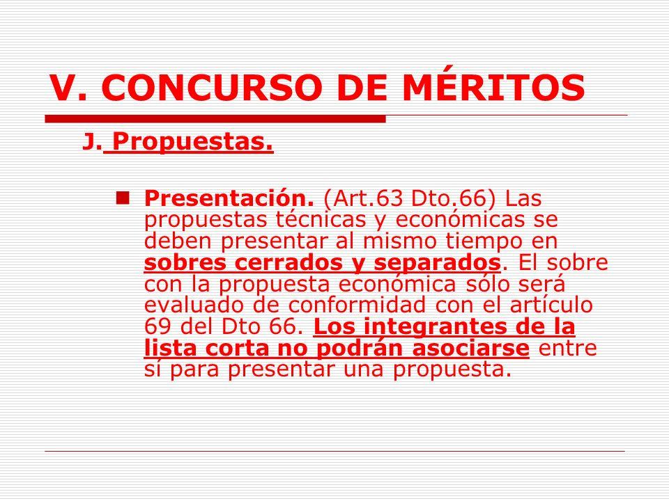 V.CONCURSO DE MÉRITOS I. Invitación a presentar propuestas.
