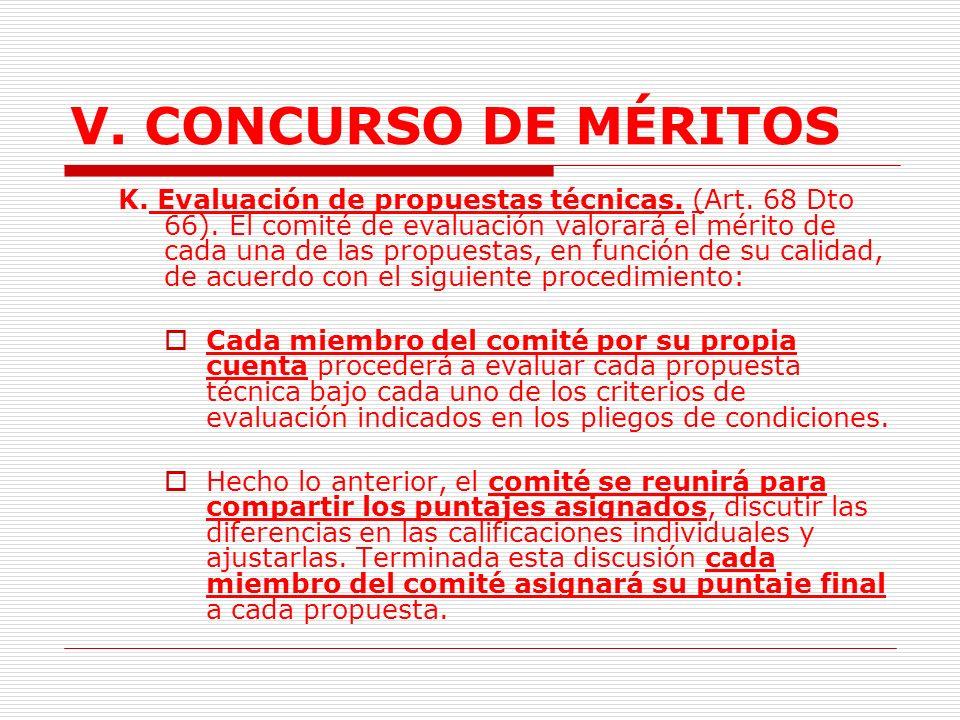V.CONCURSO DE MÉRITOS J. Propuestas. Presentación.