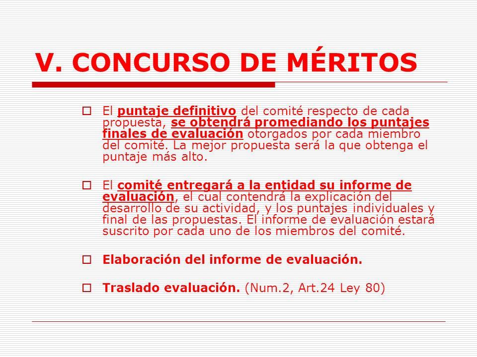 V.CONCURSO DE MÉRITOS K. Evaluación de propuestas técnicas.