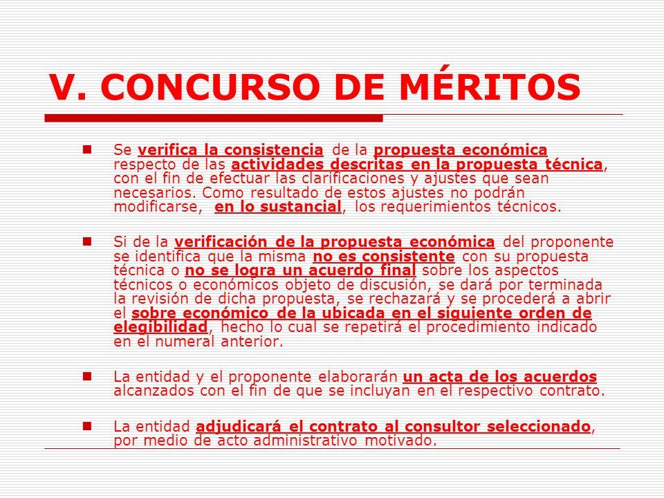 V.CONCURSO DE MÉRITOS L.