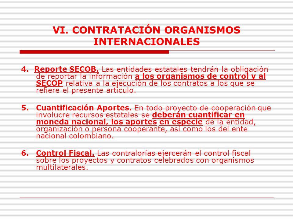 VI. CONTRATACIÓN ORGANISMOS INTERNACIONALES Contratos y convenios para la operación del programa mundial de alimentos. Contratos y convenios para el d