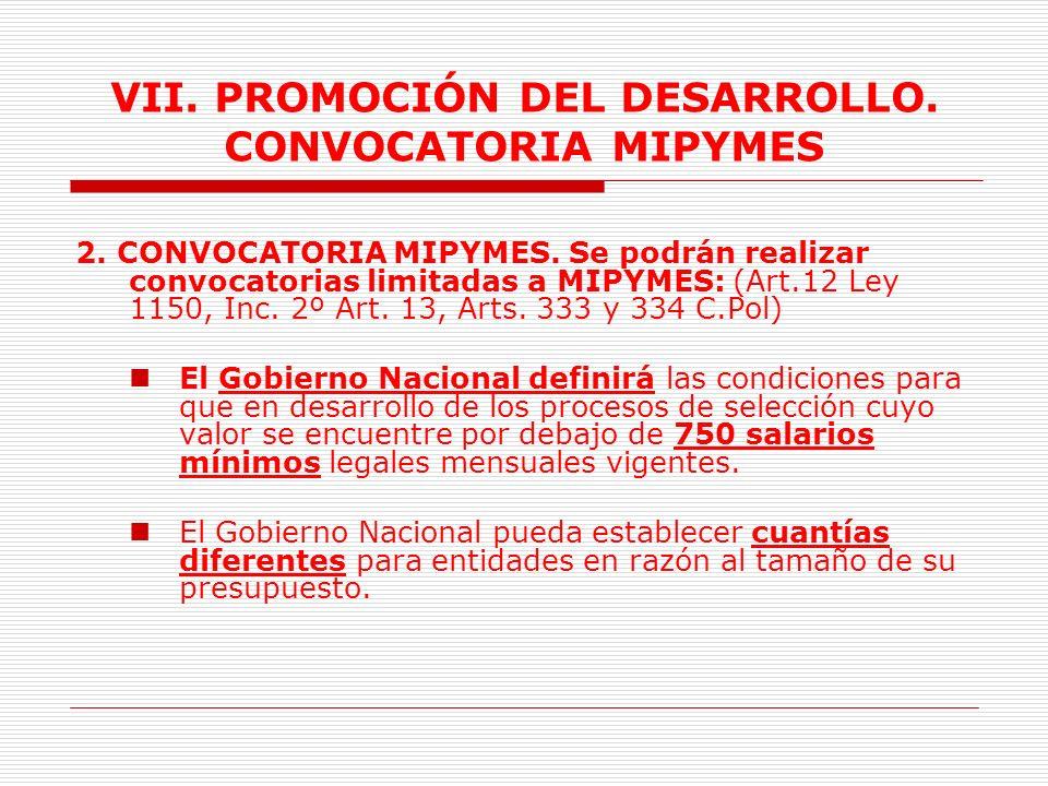 VII.PROMOCIÓN DEL DESARROLLO. CONVOCATORIA MIPYMES 1.PROMOCIÓN DEL DESARROLLO.