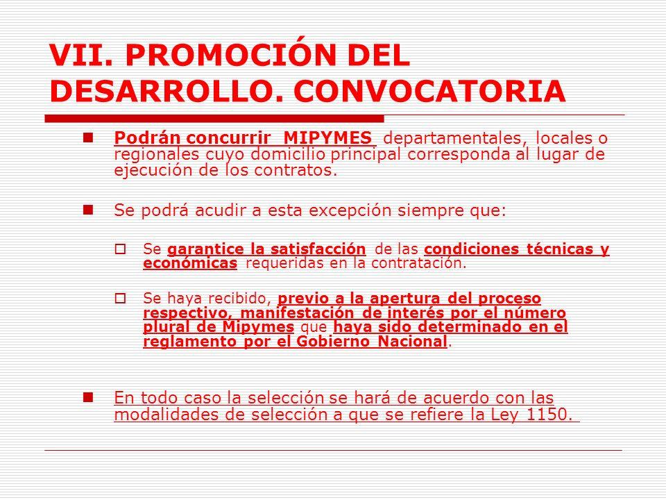 VII.PROMOCIÓN DEL DESARROLLO. CONVOCATORIA MIPYMES 2.