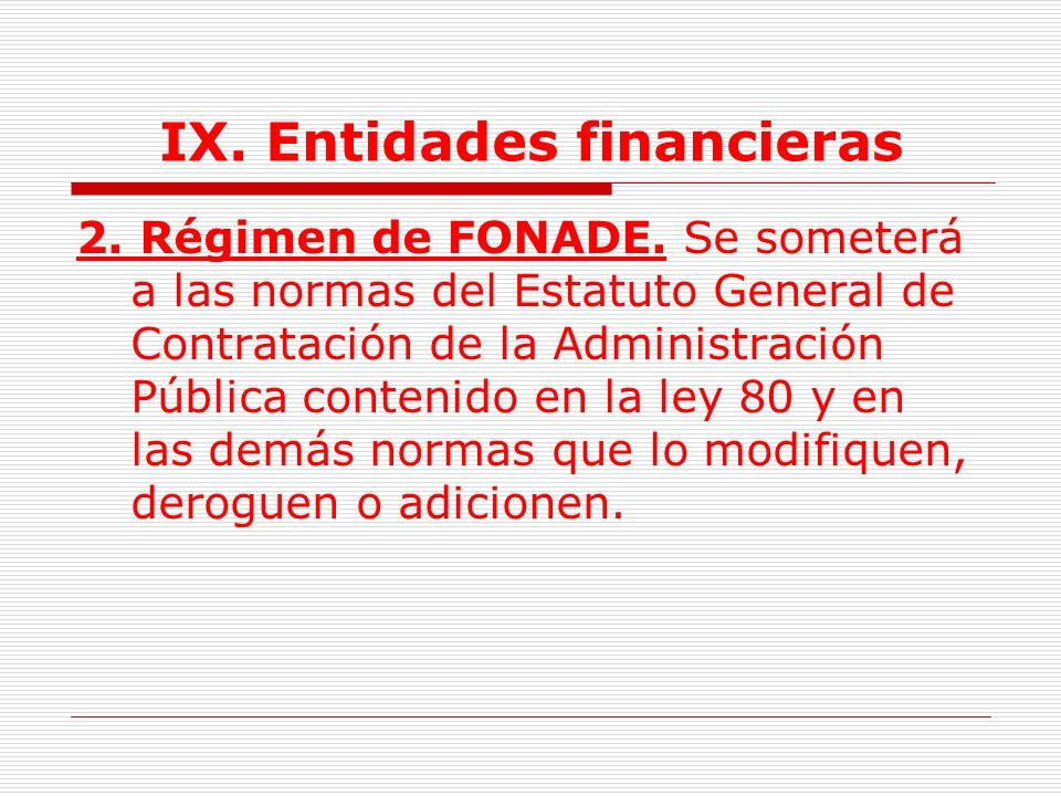 IX.Entidades financieras 1.2. Su actividad contractual se someterá a lo dispuesto en el Art.