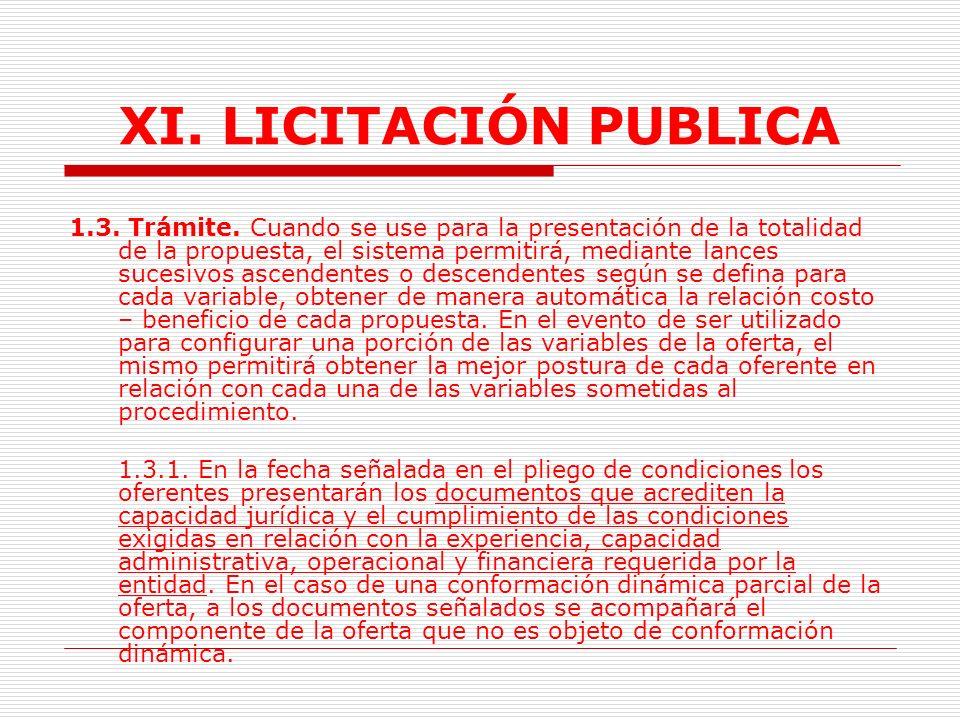 XI.LICITACIÓN PUBLICA 1.
