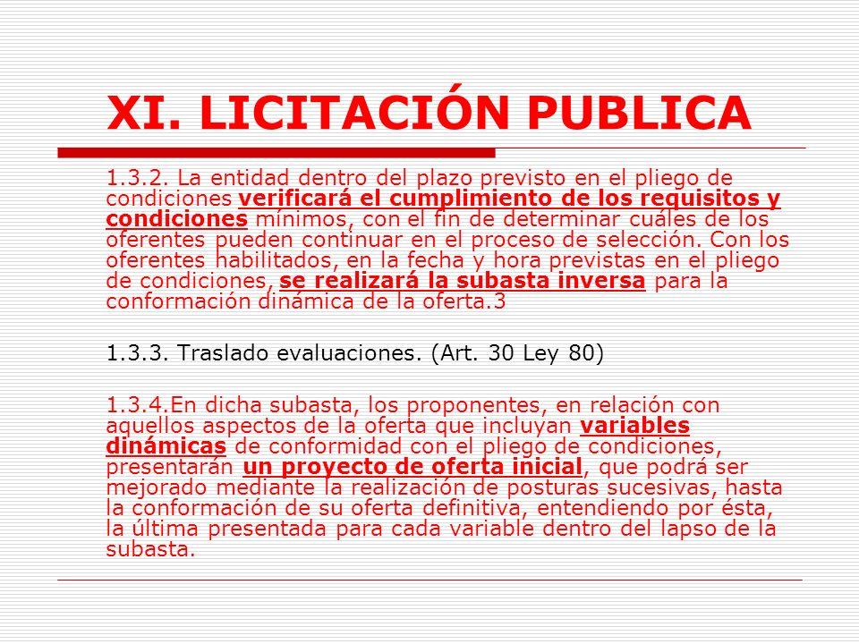 XI.LICITACIÓN PUBLICA 1.3. Trámite.