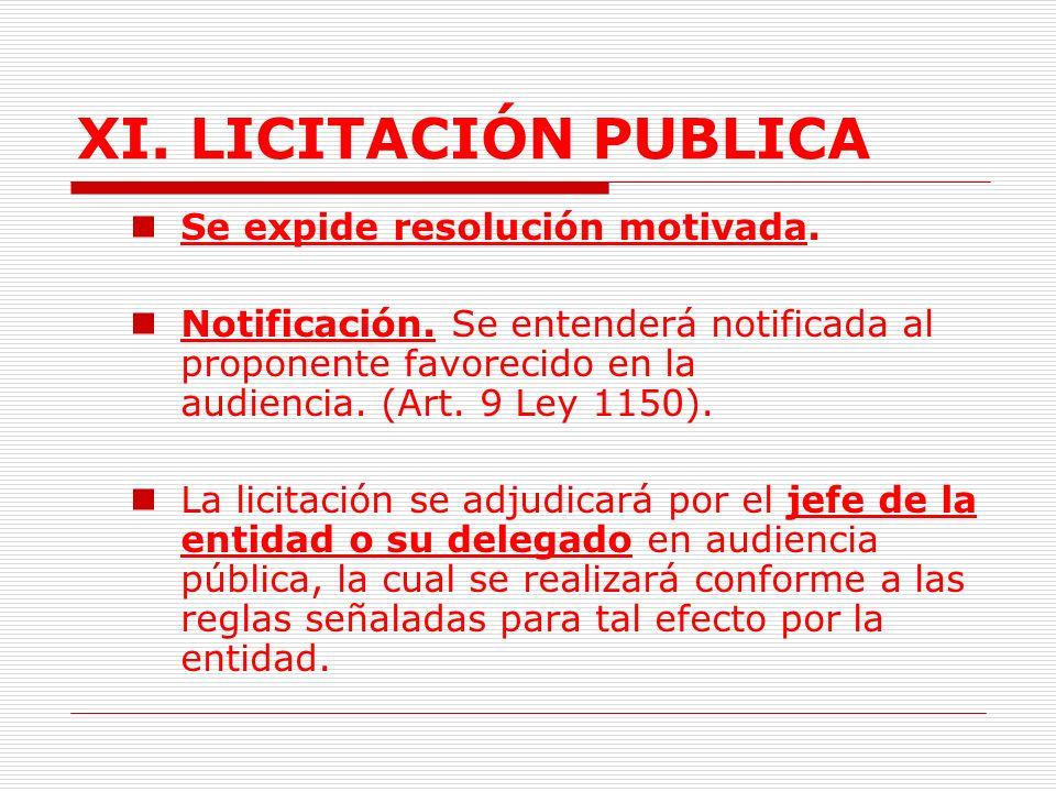 XI.LICITACIÓN PUBLICA 2.2. Audiencia de adjudicación.