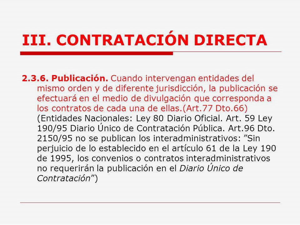 III.CONTRATACIÓN DIRECTA 2.3.5.