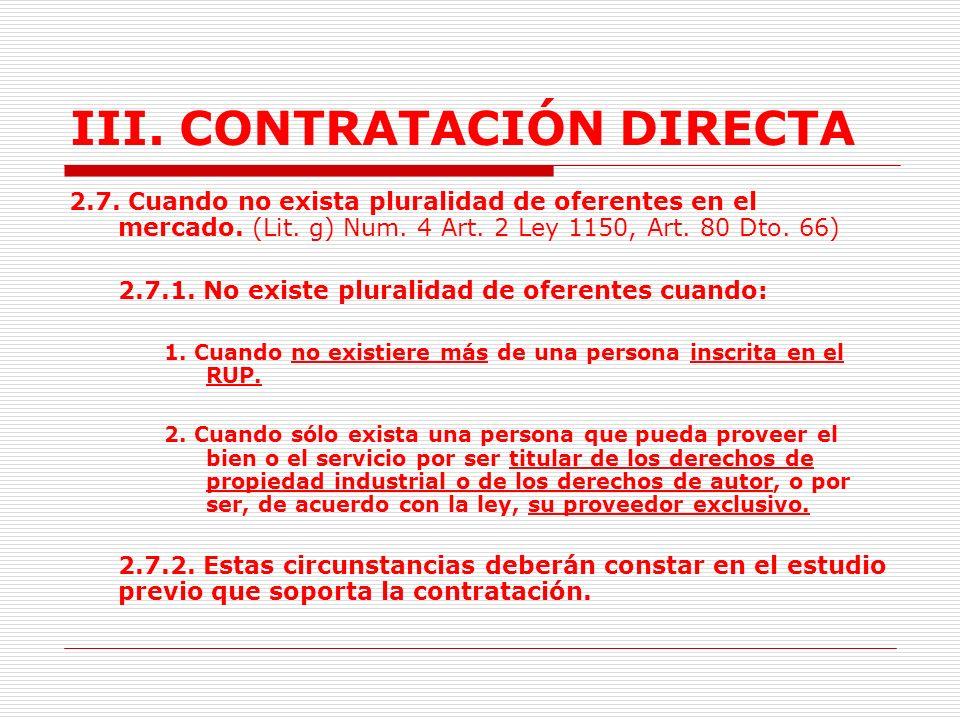 III.CONTRATACIÓN DIRECTA 2.6.