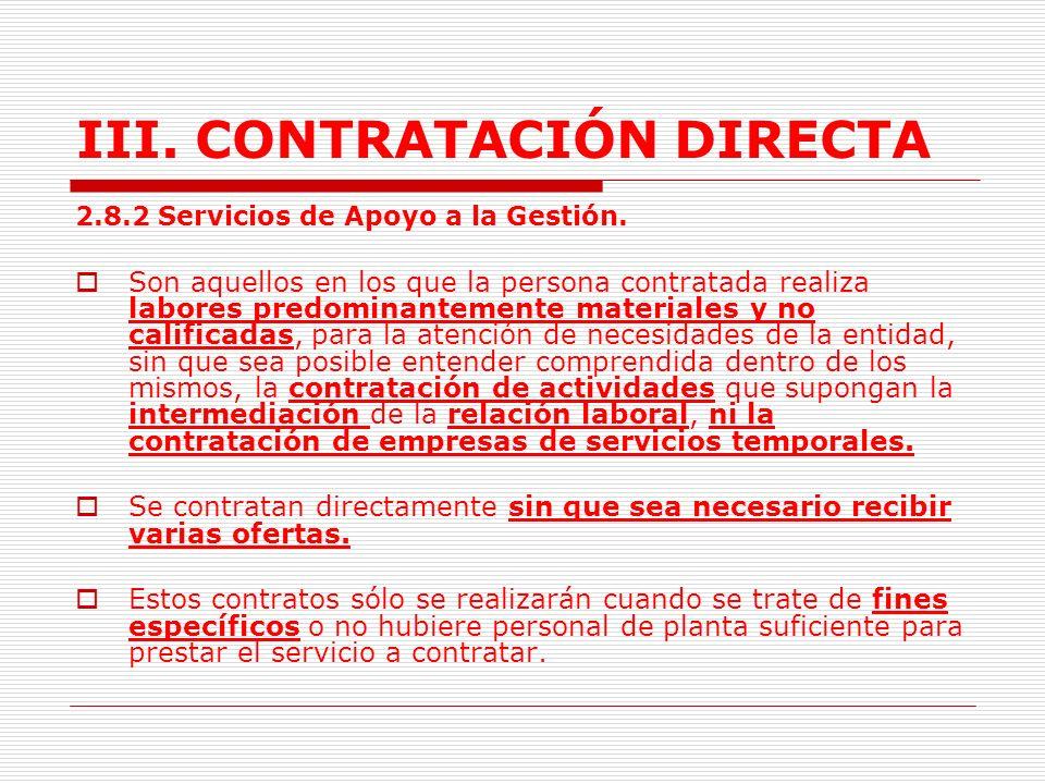 III.CONTRATACIÓN DIRECTA 2.8.