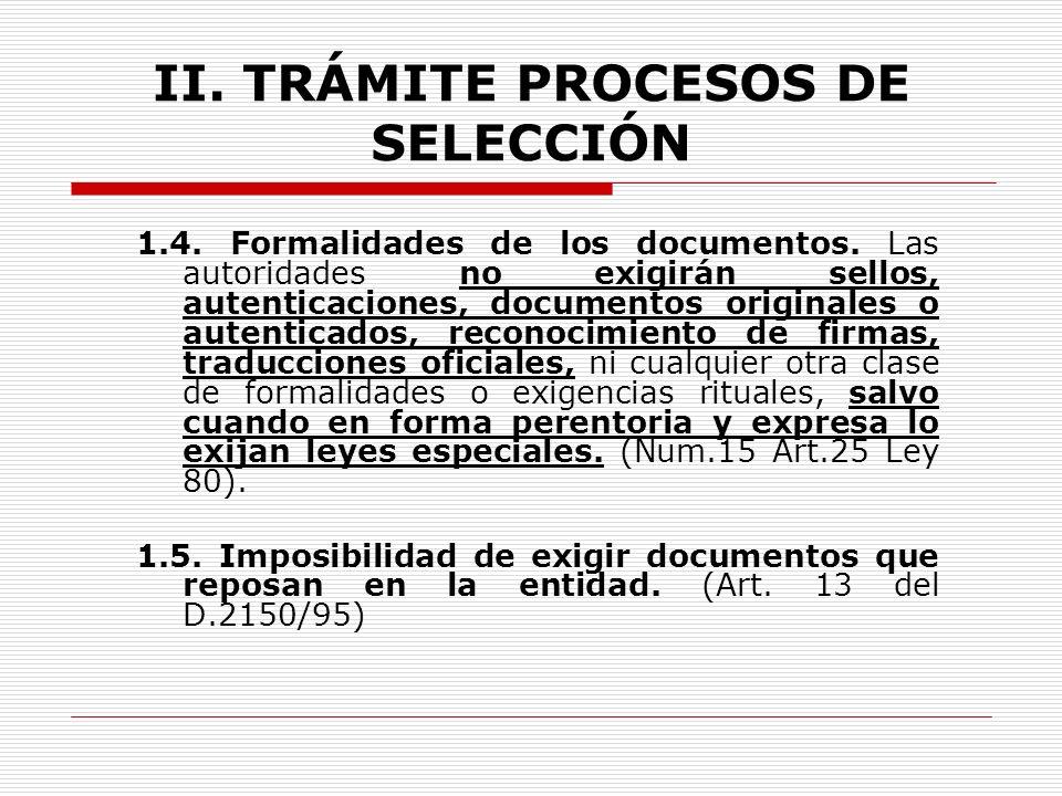 II.TRÁMITE PROCESOS DE SELECCIÓN 1.2. Interpretación de las reglas de selección.