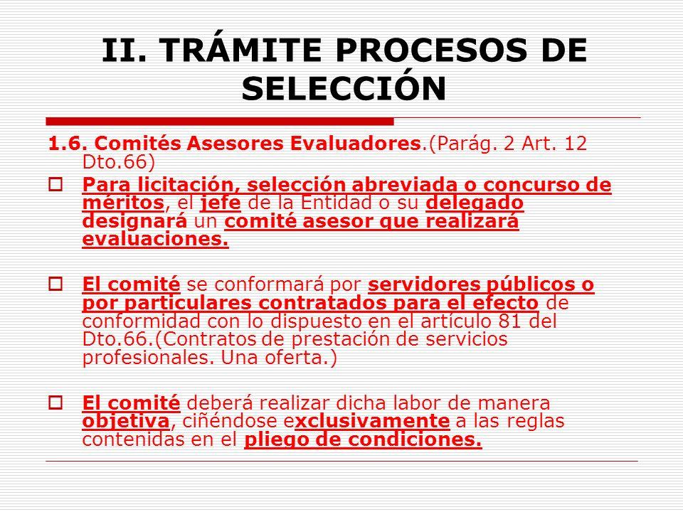II.TRÁMITE PROCESOS DE SELECCIÓN 1.4. Formalidades de los documentos.