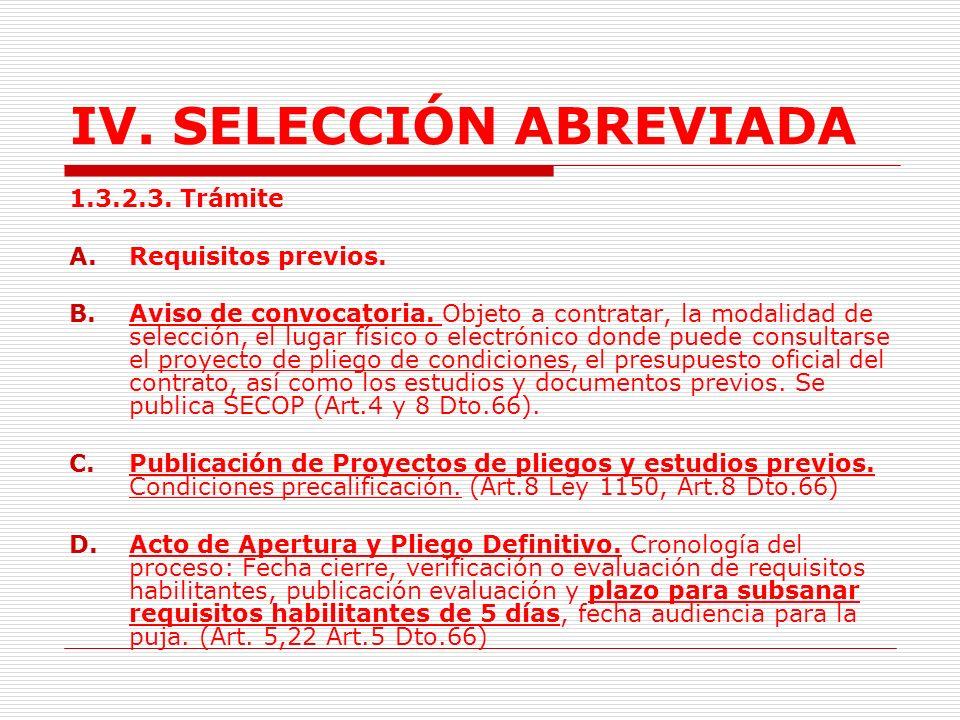 IV.SELECCIÓN ABREVIADA Fichas Técnicas.