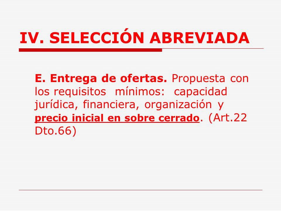 IV.SELECCIÓN ABREVIADA 1.3.2.3. Trámite A.Requisitos previos.