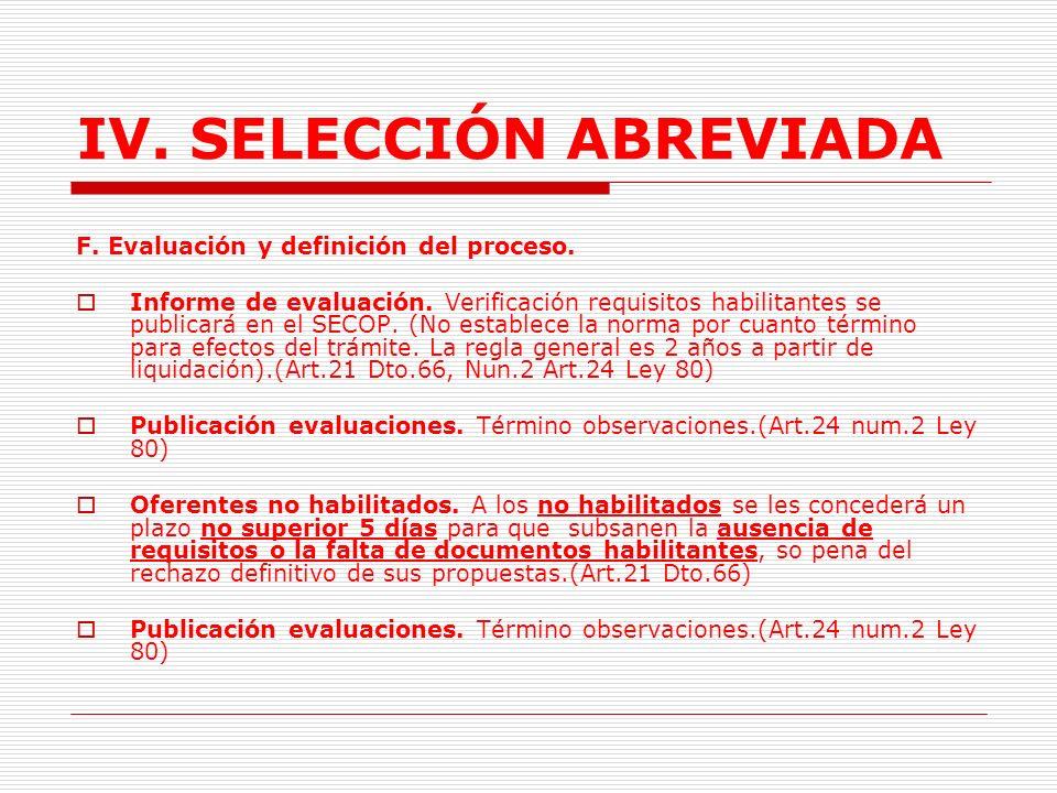 IV.SELECCIÓN ABREVIADA E. Entrega de ofertas.