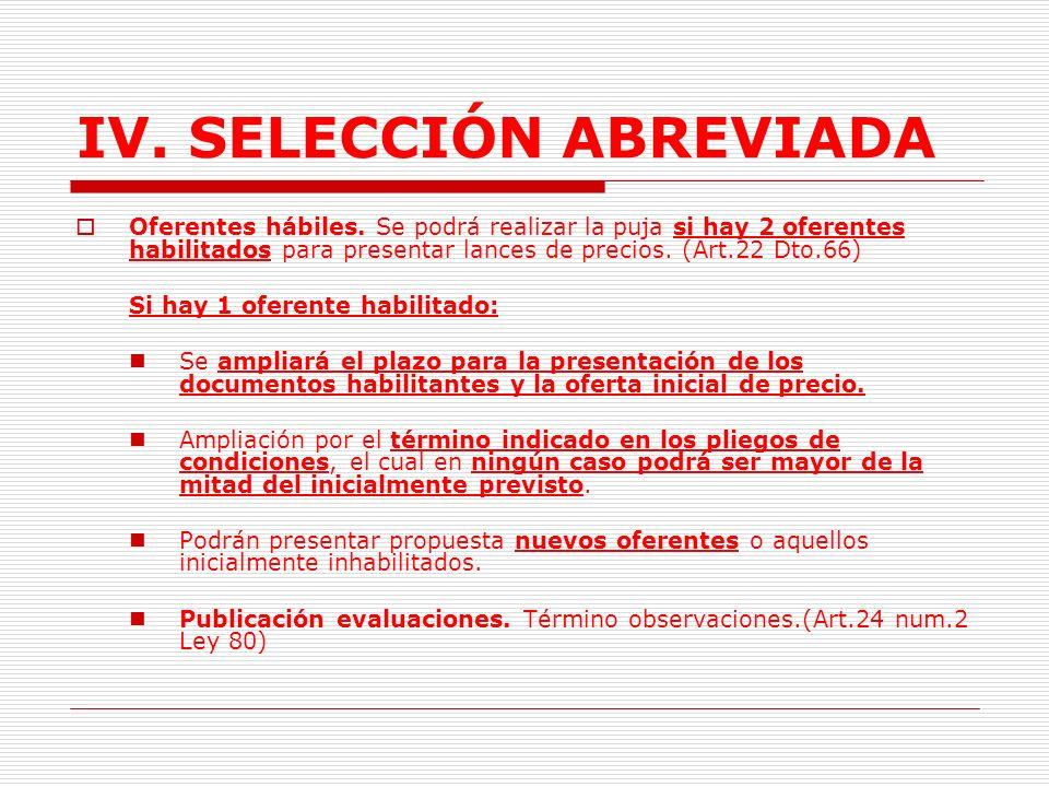 IV.SELECCIÓN ABREVIADA F. Evaluación y definición del proceso.