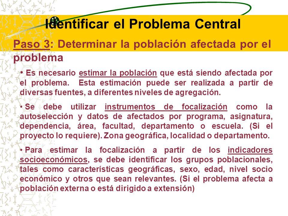 RECOMENDACIONES: Todo Problema Central debe ser focalizado, siendo preferible que el ámbito misional y área dentro de la Universidad.