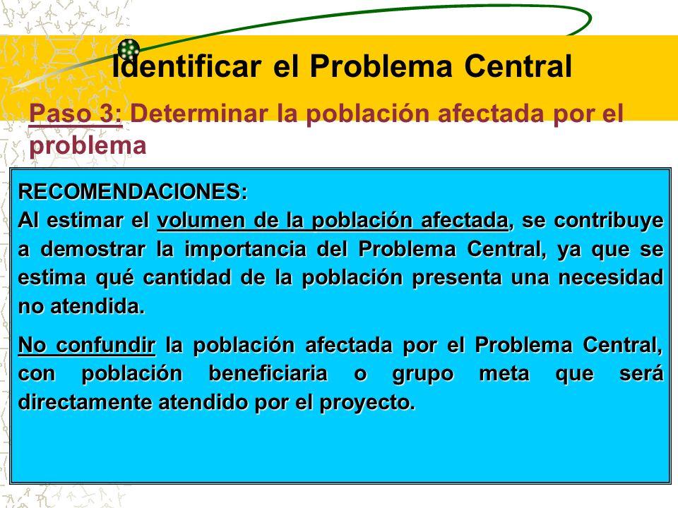 Paso 3: Determinar la población afectada por el problema Es necesario estimar la población que está siendo afectada por el problema.