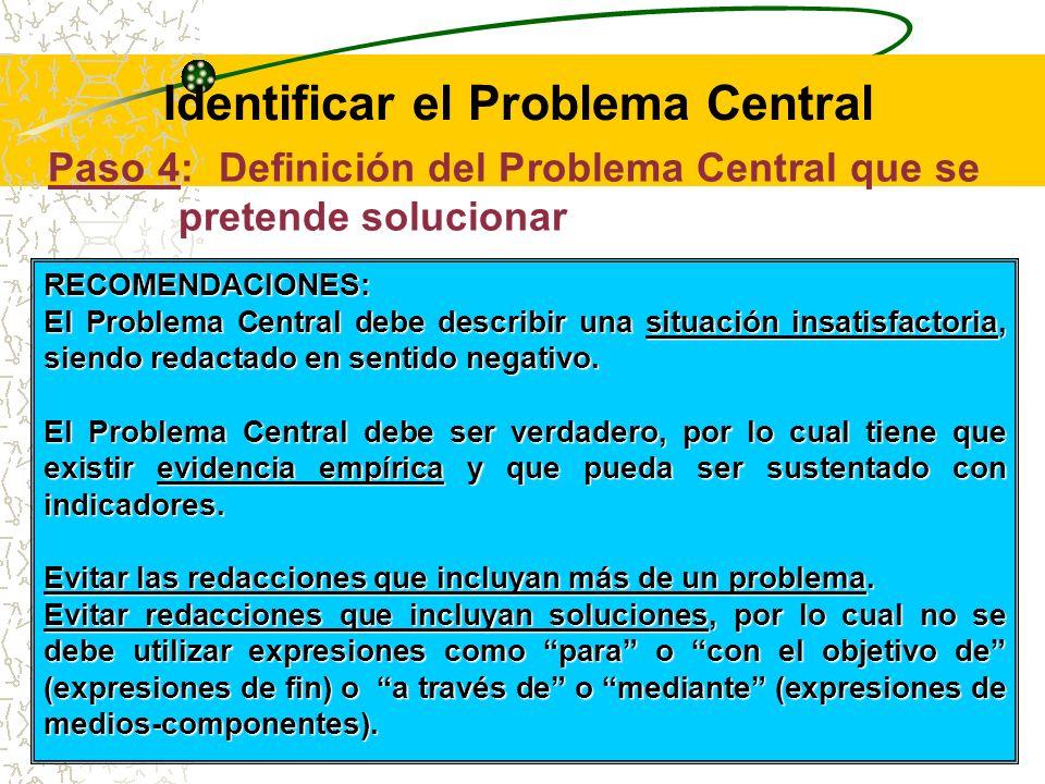 En base a la información obtenida en los pasos anteriores, se definirá de manera concisa el problema que se pretende solucionar con la ejecución del proyecto.