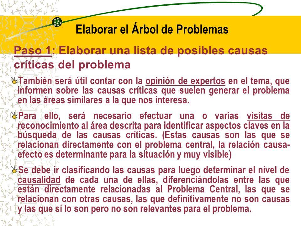 Paso 1: Elaborar una lista de posibles causas críticas del problema Se empieza identificando las causas críticas del problema, así como otras causas que puedan estar influyendo de manera decisiva en el surgimiento de dicho problema.