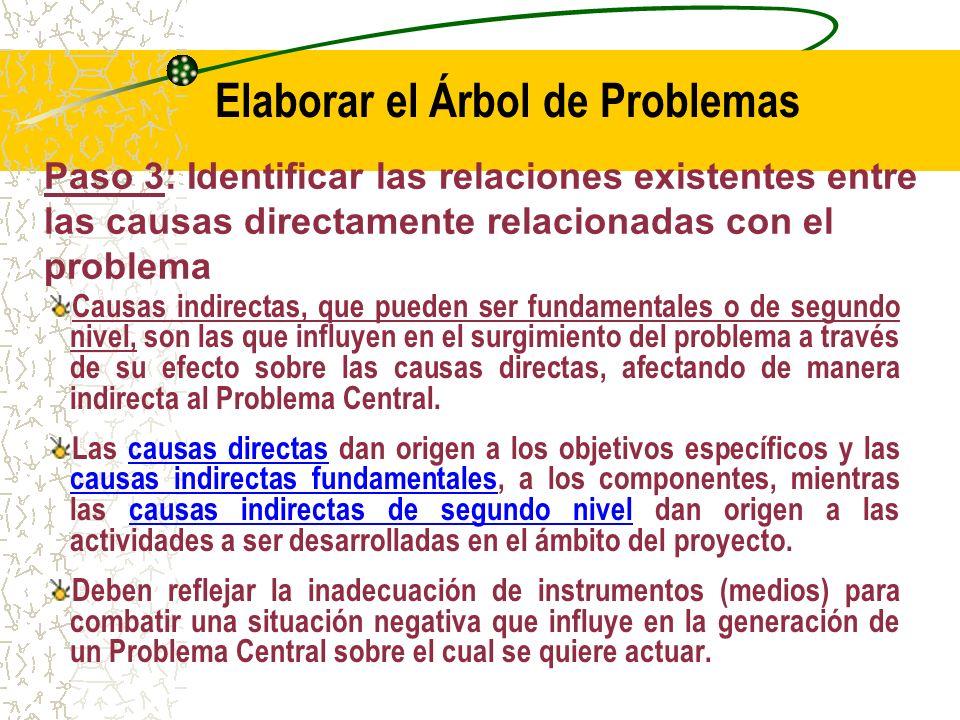 Paso 3: Identificar las relaciones existentes entre las causas directamente relacionadas con el problema Encontrar las relaciones de causalidad que existan entre las causas relacionadas con el problema.