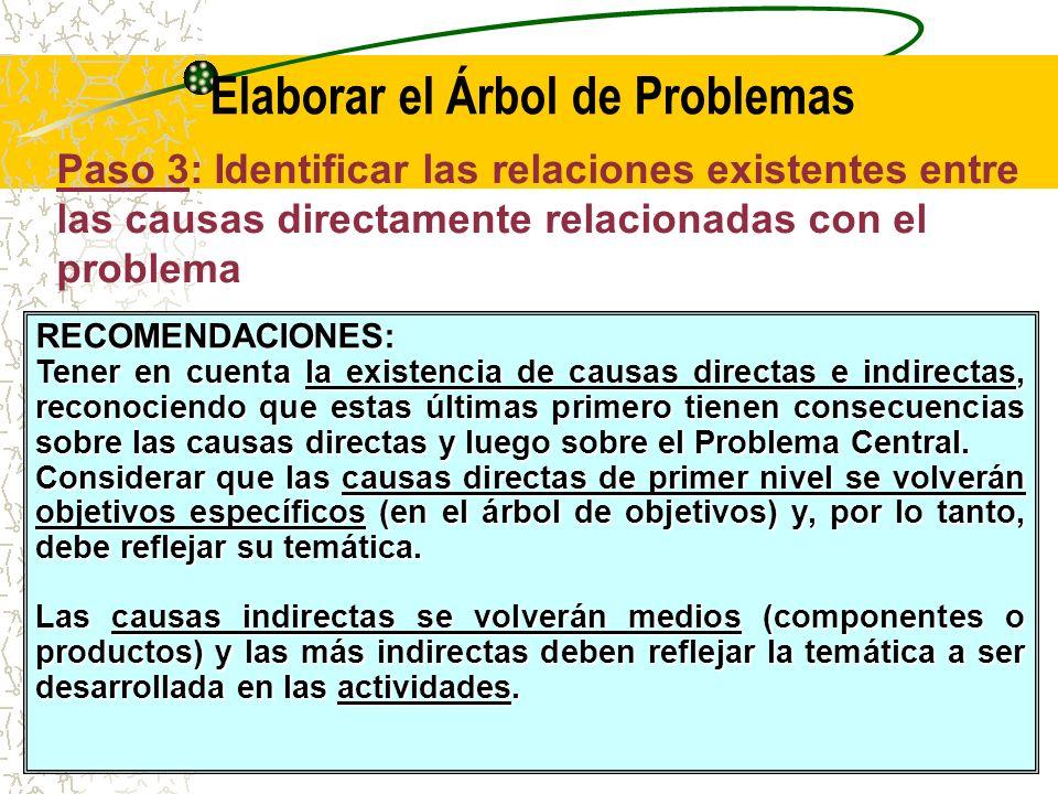 Causas indirectas, que pueden ser fundamentales o de segundo nivel, son las que influyen en el surgimiento del problema a través de su efecto sobre las causas directas, afectando de manera indirecta al Problema Central.