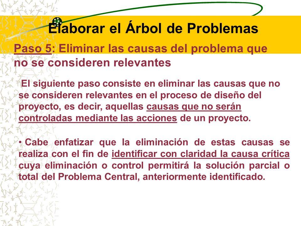RECOMENDACIONES: La causa crítica más importante debe ser ubicada en el lado izquierdo del árbol de problemas, resaltando su interrelación con las otras causalidades.