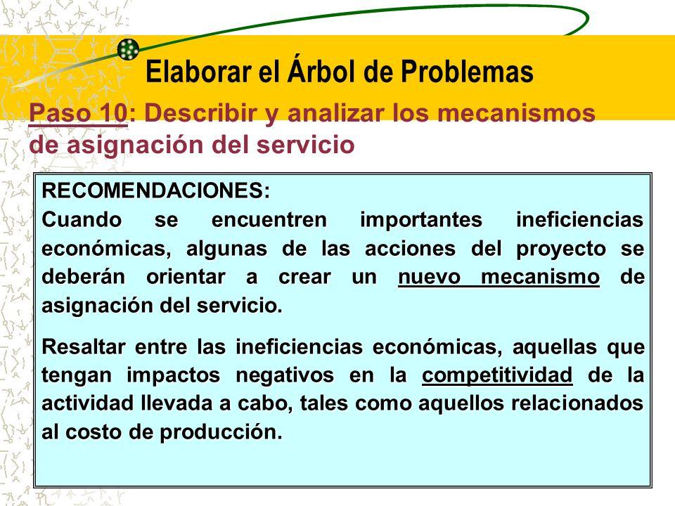 Paso 10: Describir y analizar los mecanismos de asignación del servicio Elaborar el Árbol de Problemas Se mostrará también una breve descripción de los mecanismos de asignación del servicio.