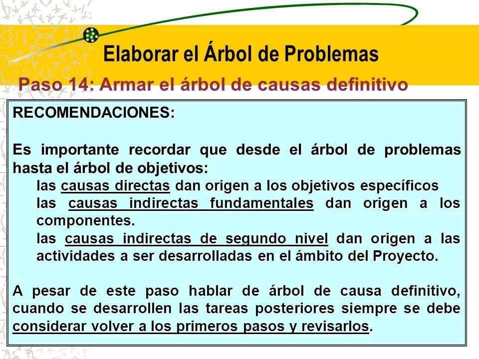 Paso 14: Armar el árbol de causas definitivo (F3) T2 - Elaborar el Árbol de Problemas (F1 a F3) Problema Central Causa Directa 1 Causa Directa 2 Causa Directa n Causa Indirecta 1 Causa Indirecta 2 Causa Indirecta 4 Causa Indirecta 3 Causa Indirecta 5 Causa Indirecta 6 Problema Central Causas Directas Causas Indirectas fundamentales Causas Indirectas de segundo nivel Causa indirecta 1.1 Causa indirecta 1.2 Causa indirecta 6.1 Causa indirecta 6.2 Causa indirecta 3.1 Causa indirecta 3.2