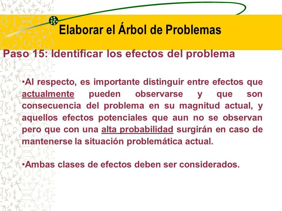 Paso 15: Identificar los efectos del problema Los efectos del problema son aquellos que caracterizan las consecuencias de la situación que existiría en caso de no ejecutarse el proyecto, es decir, en caso de mantenerse inalterado el orden actual de las cosas.