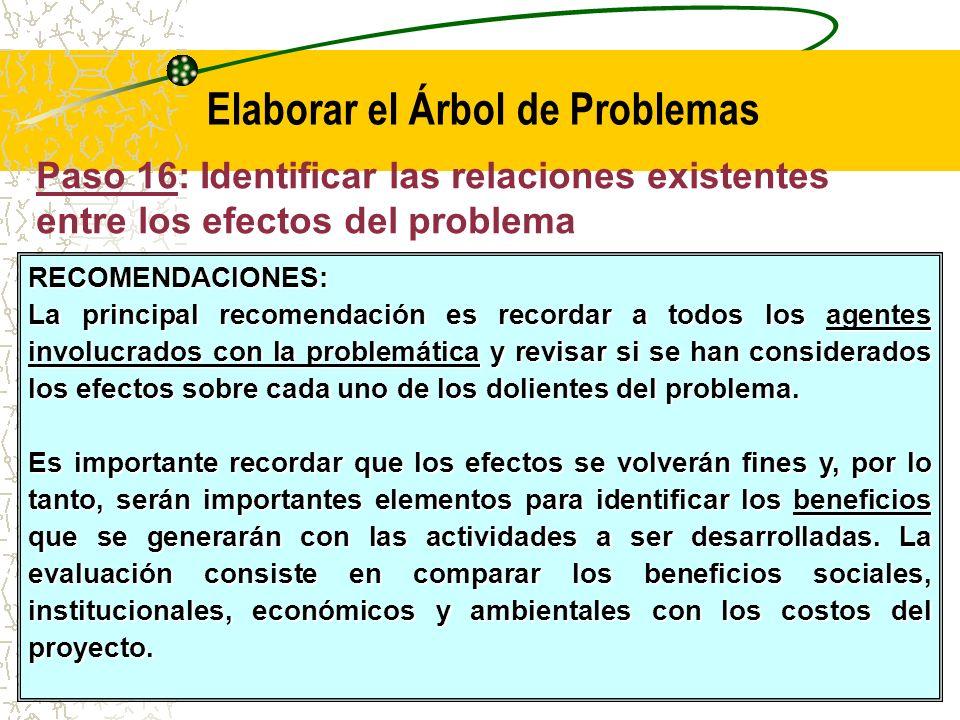 Paso 16: Identificar las relaciones existentes entre los efectos del problema Al igual que las causas del problema, los efectos identificados pueden ser directos o indirectos, dependiendo de la relación que guarden con el problema en su magnitud actual.