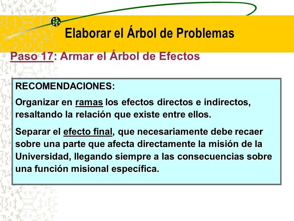 Paso 17: Armar el Árbol de Efectos (F3) Elaborar el Árbol de Problemas El siguiente paso consiste en armar el árbol de efectos en base a la información obtenida hasta el momento.
