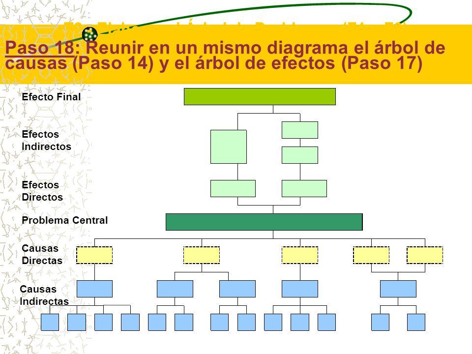 Paso 18: Reunir en un mismo diagrama el árbol de causas (Paso 14) y el árbol de efectos (Paso 17) El último paso de esta segunda tarea consiste en reunir en un mismo diagrama el árbol de causas (Paso 14) y el árbol de efectos (Paso 17).