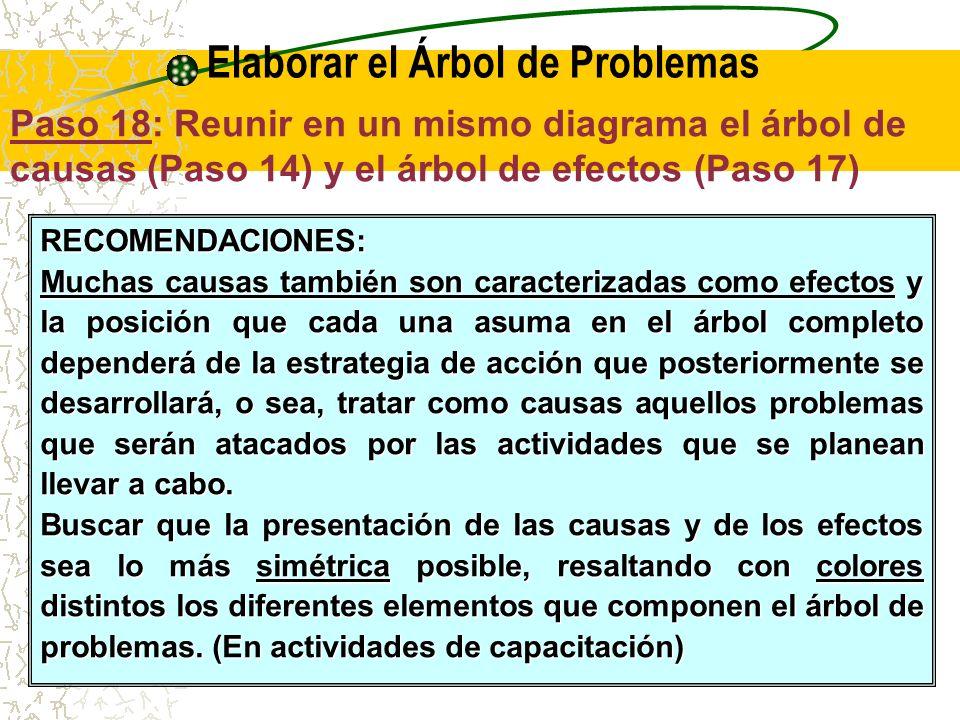 T2 - Elaborar el Árbol de Problemas (F1 a F3) Paso 18: Reunir en un mismo diagrama el árbol de causas (Paso 14) y el árbol de efectos (Paso 17) Problema Central Efecto Final Efectos Indirectos Efectos Directos Causas Directas Causas Indirectas
