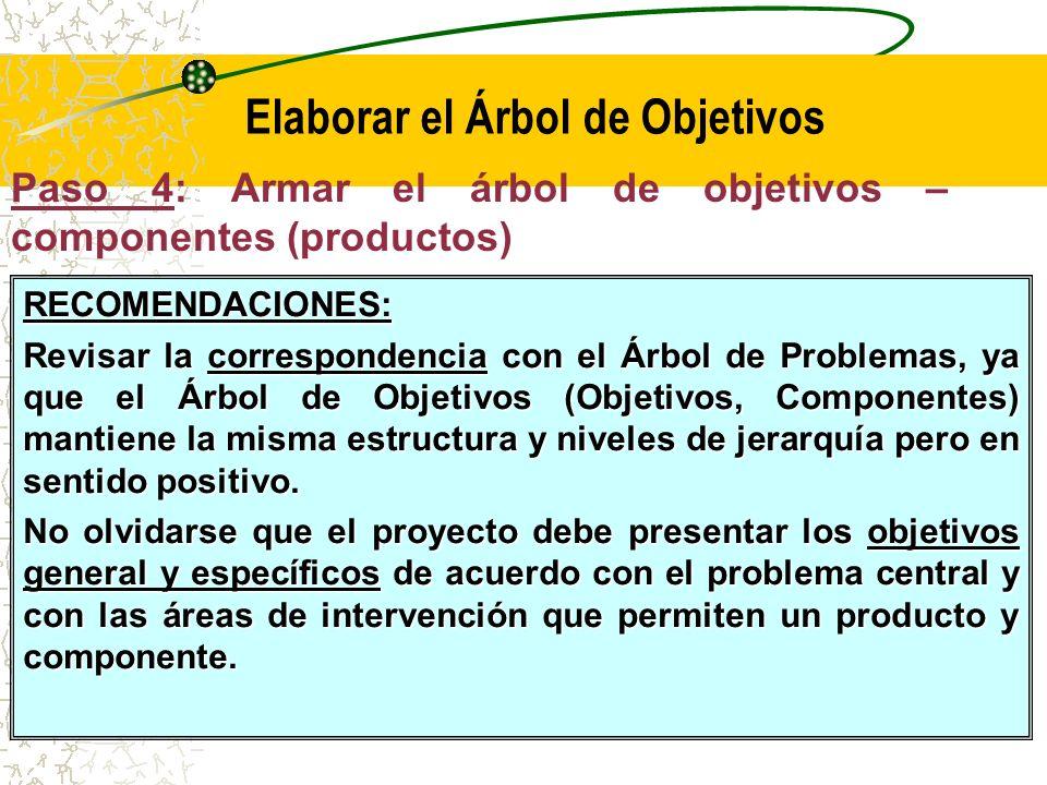 Paso 4: Armar el árbol de medios - Objetivos Propósito Objetivo Central Fin Principal Finalidades Indirectas Finalidades Directas Objetivos Específicos Medios de Segundo Nivel, Actividades Medios Fundamentales Componentes
