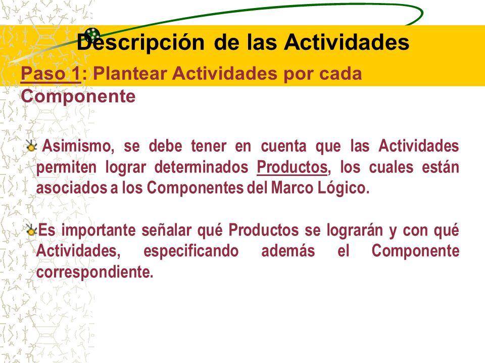 Paso 1: Plantear Actividades por cada Componente Como en el Árbol de Objetivos ya se encuentran definidos los Objetivos específicos que se desagregarán en los Componentes del Marco Lógico, se tienen que formular Actividades para cada uno de los Componentes.