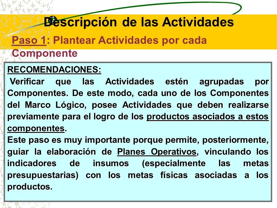Asimismo, se debe tener en cuenta que las Actividades permiten lograr determinados Productos, los cuales están asociados a los Componentes del Marco Lógico.