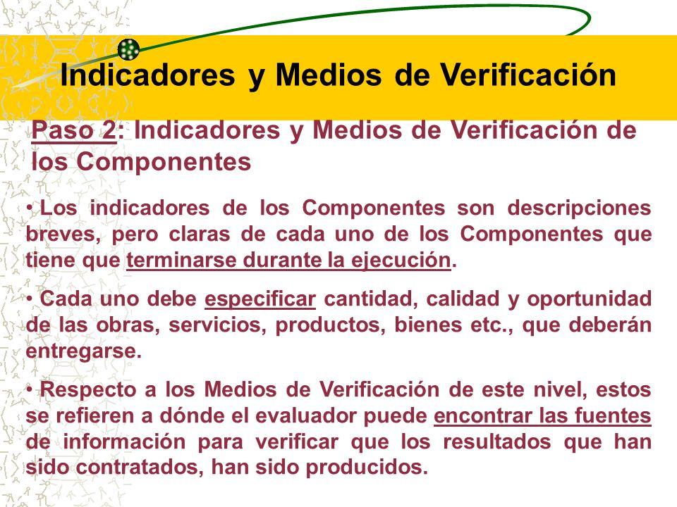 Paso 2: Indicadores y Medios de Verificación de los Componentes Los indicadores del nivel de los Componentes son llamados indicadores de Producto, pues reflejan los bienes y servicios cuantificables, producidos y/o provistos por una determinada intervención.