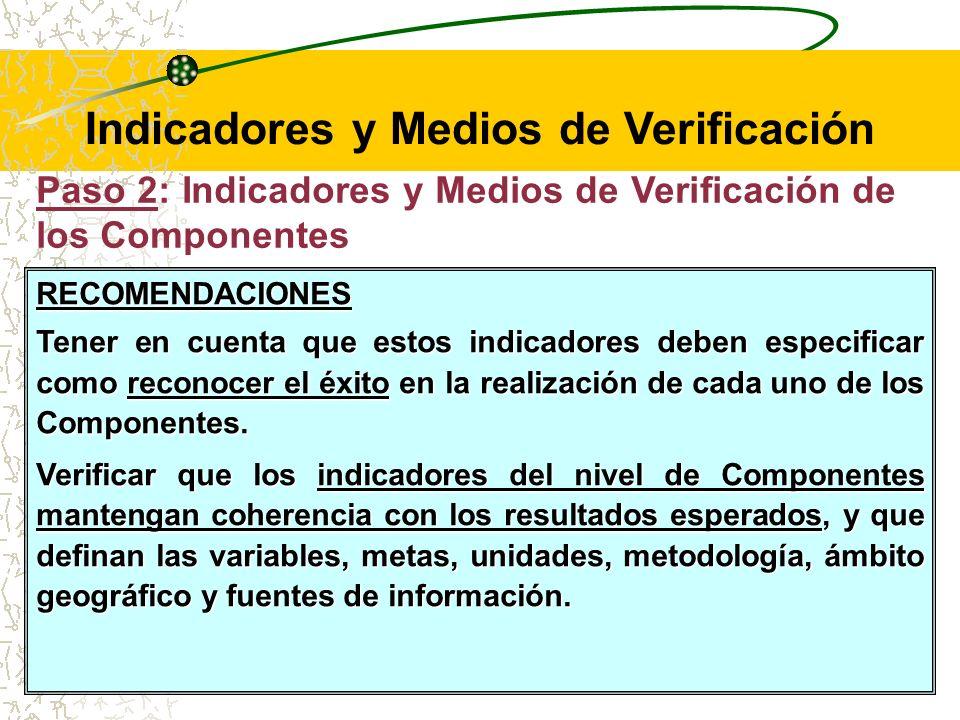 Paso 2: Indicadores y Medios de Verificación de los Componentes Los indicadores de los Componentes son descripciones breves, pero claras de cada uno de los Componentes que tiene que terminarse durante la ejecución.