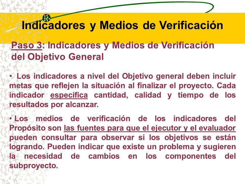 Paso 3: Indicadores y Medios de Verificación del Objetivo General Los indicadores del Objetivo General indican el progreso en el logro del mismo, y son llamados indicadores de Resultado, pues reflejan los objetivos (generales y específicos) definidos de los proyectos.