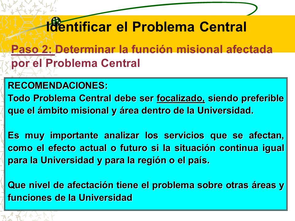 Paso 2: Determinar la función misional afectada por el Problema Central Determinar el ámbito por el Problema Central referido anteriormente, lo que puede ser delimitado de acuerdo a las funciones misionales de la Universidad (Docencia, investigación y Extensión).