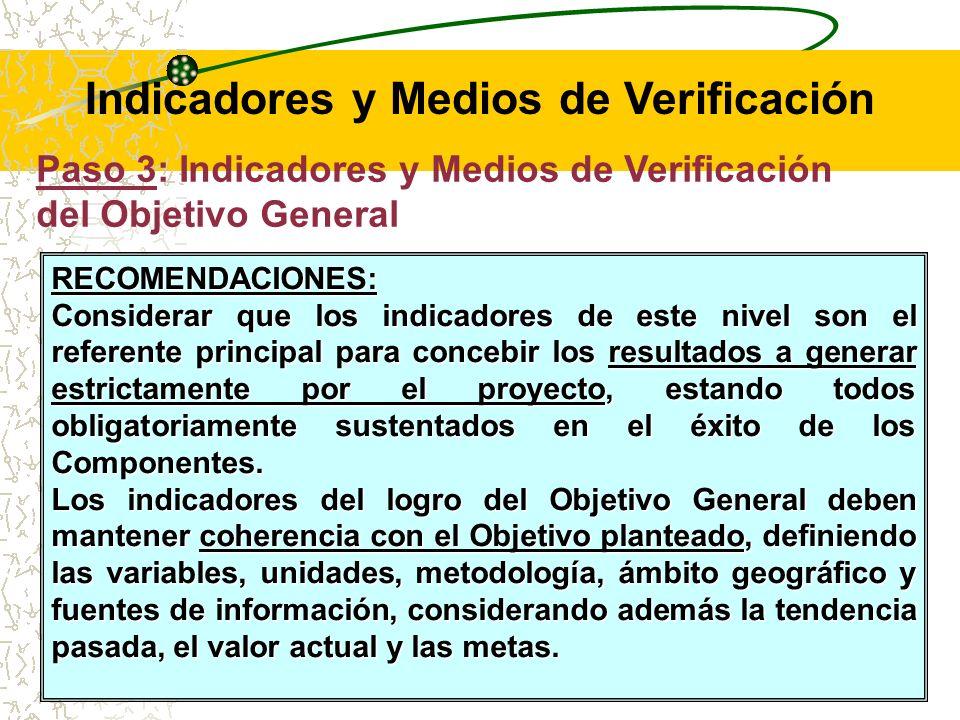 Paso 3: Indicadores y Medios de Verificación del Objetivo General Los indicadores a nivel del Objetivo general deben incluir metas que reflejen la situación al finalizar el proyecto.