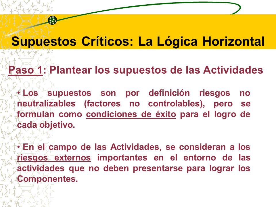 Paso 1: Plantear los supuestos de las Actividades Paso 2: Plantear los supuestos de los Componentes Paso 3: Plantear los supuestos del Propósito Supuestos Críticos: La Lógica Horizontal