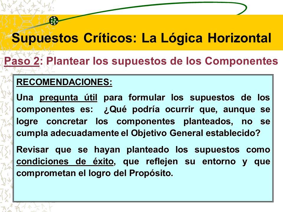 Supuestos Críticos: La Lógica Horizontal Los supuestos del nivel de Componentes son los factores externos importantes, como acontecimientos, decisiones o condiciones que deben ocurrir para que los Componentes alcancen el Objetivo General para el cual se llevaron a cabo.