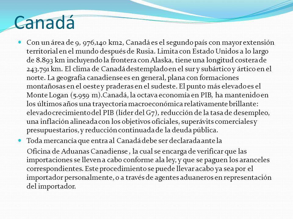 Canadá Con un área de 9, 976,140 km2, Canadá es el segundo país con mayor extensión territorial en el mundo después de Rusia. Limita con Estado Unidos