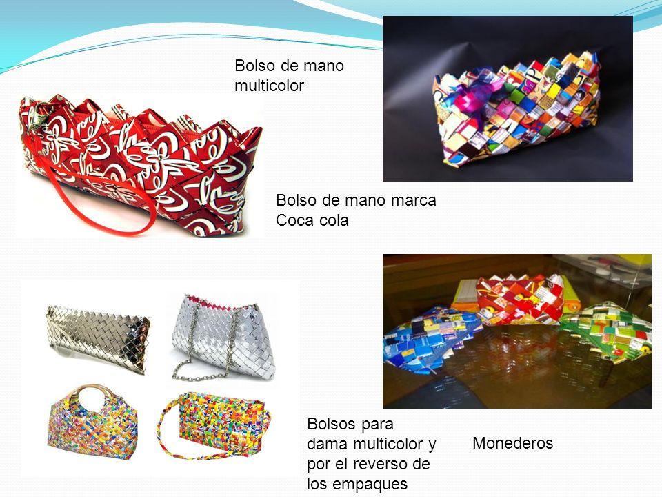 Bolso de mano multicolor Bolso de mano marca Coca cola Monederos Bolsos para dama multicolor y por el reverso de los empaques