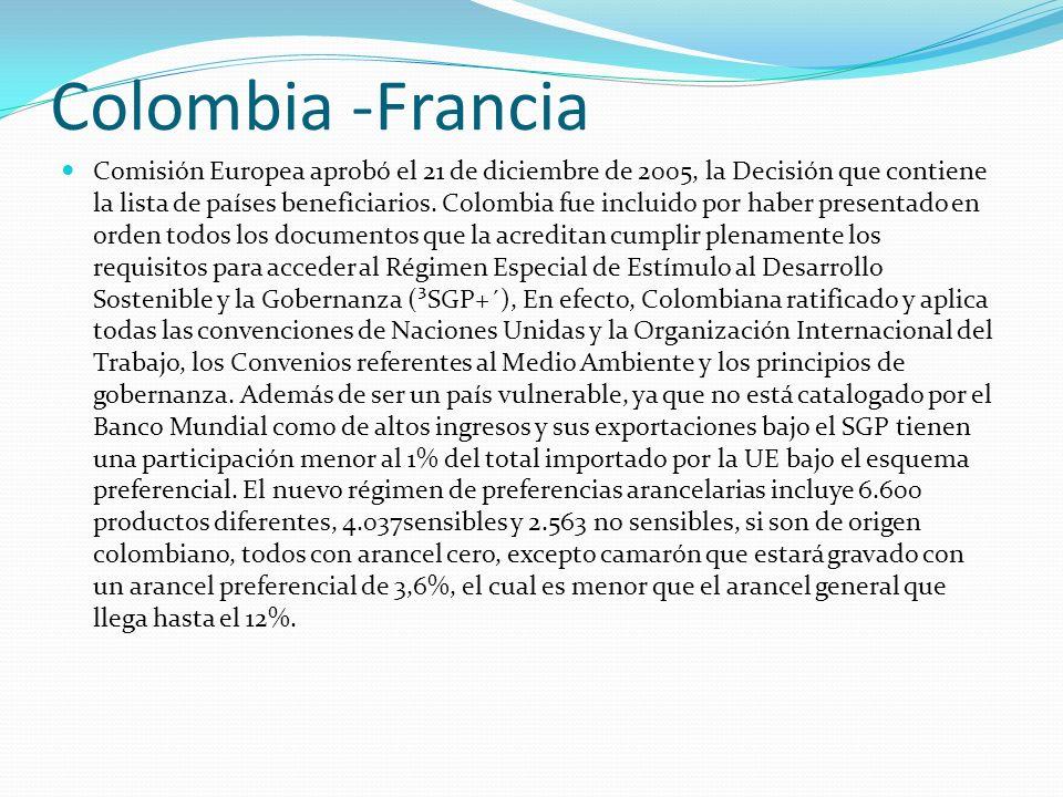 Colombia -Francia Comisión Europea aprobó el 21 de diciembre de 2005, la Decisión que contiene la lista de países beneficiarios. Colombia fue incluido