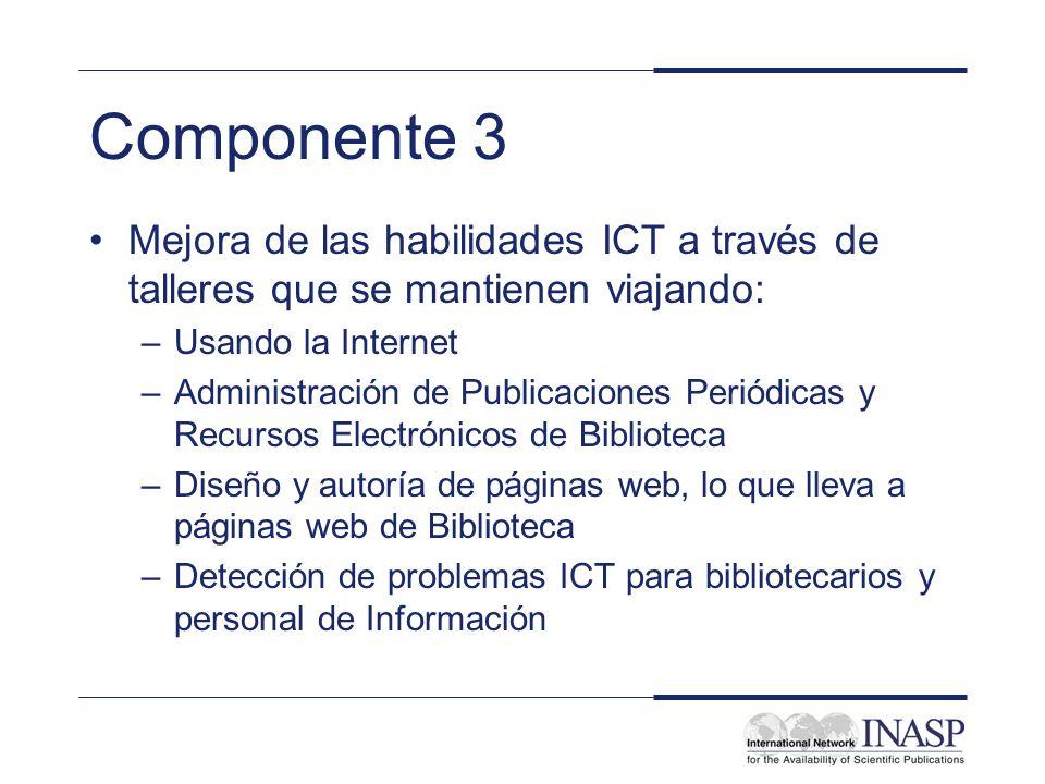 Componente 3 Mejora de las habilidades ICT a través de talleres que se mantienen viajando: –Usando la Internet –Administración de Publicaciones Periód