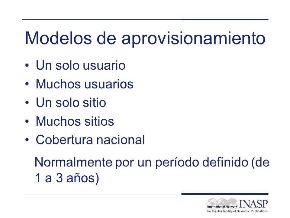 Modelos de aprovisionamiento Un solo usuario Muchos usuarios Un solo sitio Muchos sitios Cobertura nacional Normalmente por un período definido (de 1